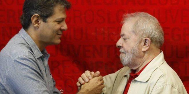 Candidato Haddad e ex-presidente Lula