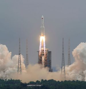 The Long March-5B Y2 rocket, carrying the core module of China's space station Tianhe, takes off from Wenchang Space Launch Center in Hainan province, China April 29, 2021. China Daily via REUTERS  ATTENTION EDITORS - THIS IMAGE WAS PROVIDED BY A THIRD PARTY. CHINA OUT.